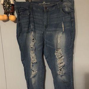 Brand New Boyfiend Distressed Jeans 22W